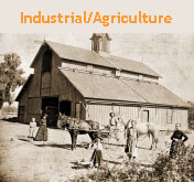 Link to gallery of historic industry and agriculture photos. Picture is of W.G. Faulkner barn, taken in 1880.
