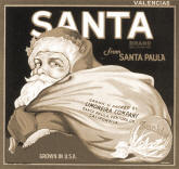 Local citrus box label titled Santa bearing a Santa Claus figure. Image links to a larger version of the old label.